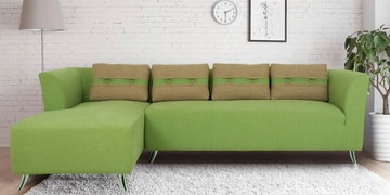 Iowa RHS Three Seater Sofa With Lounger In Pear Green Colour