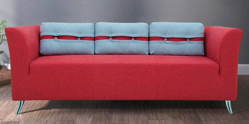 Adelia Three Seater Sofa in Crimson Red Colour by CasaCraft