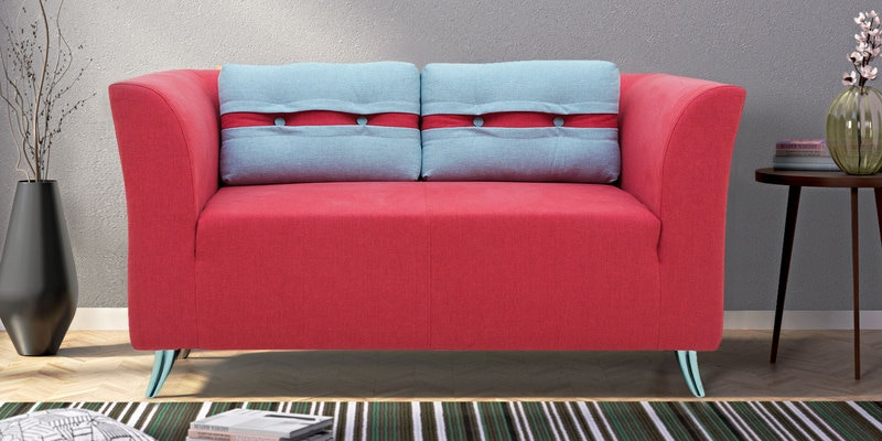 Adelia Two Seater Sofa in Crimson Red Colour by CasaCraft