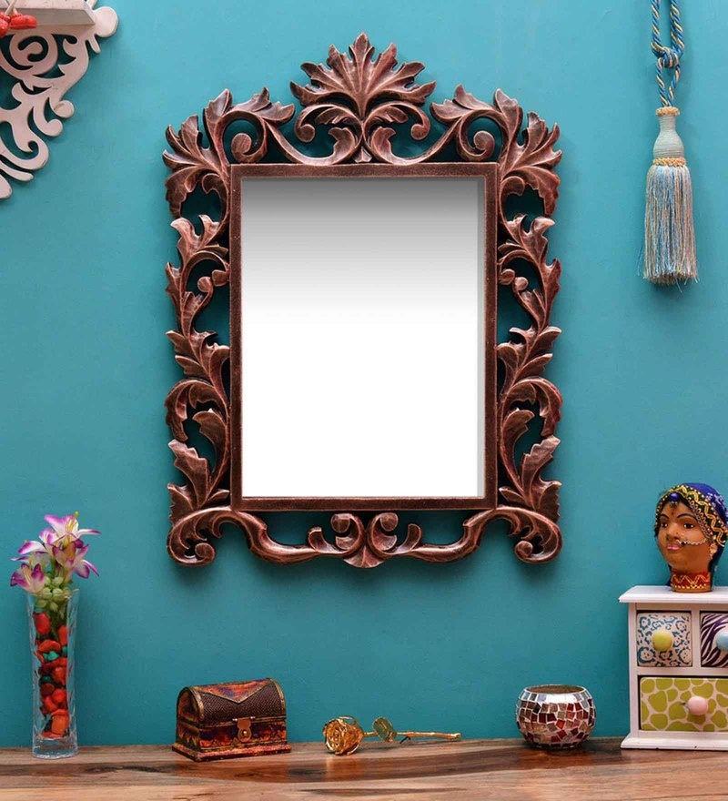Brown MDF Carving Mirror by ShriNath