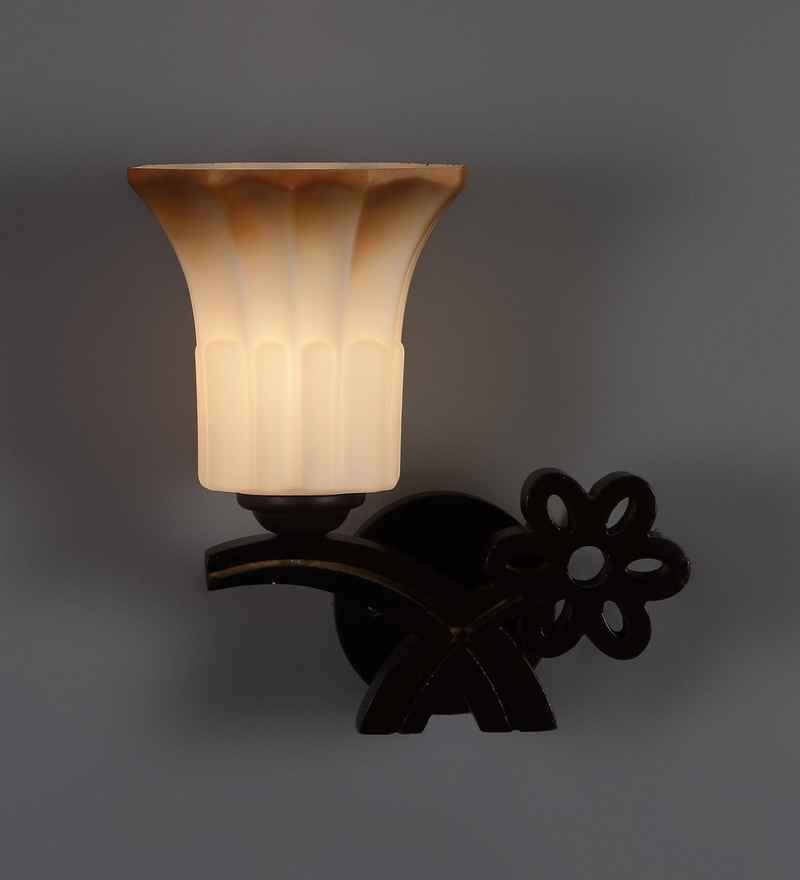 Buy Brown And White Glass Wall Mounted Wall Light By Aesthetic Home Solutions Online Upward