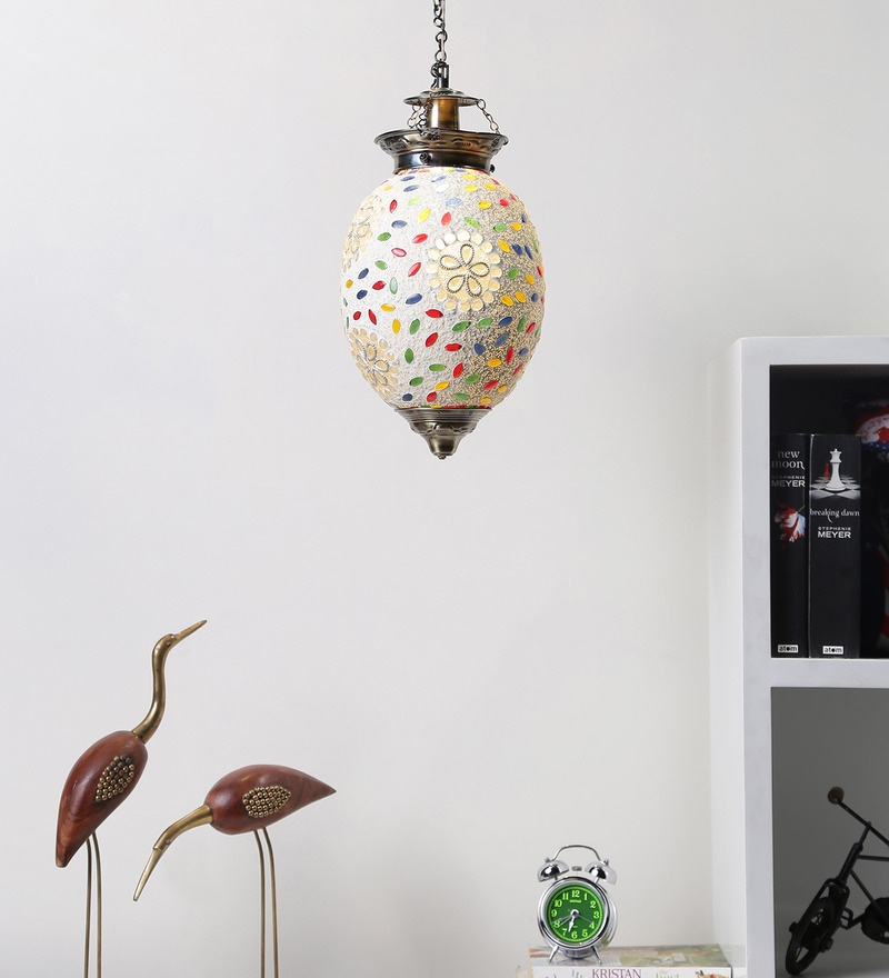 Aesthetics Home Solution Multicolour Glass Hanging Light