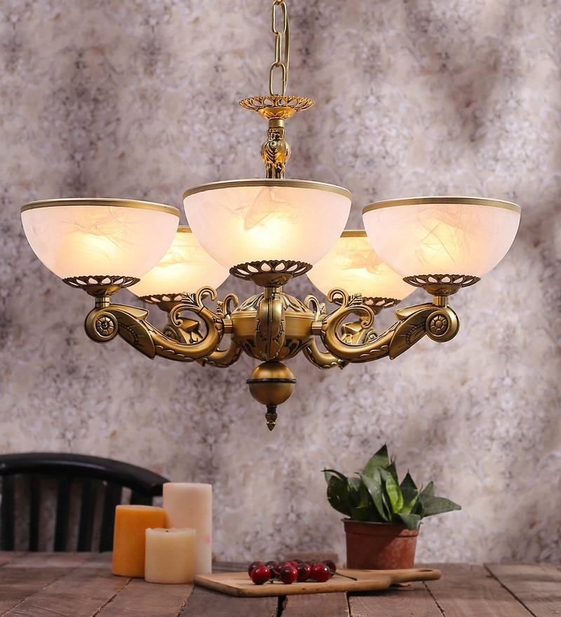 White and Gold Glass Chandelier by Aesthetics Home Solution
