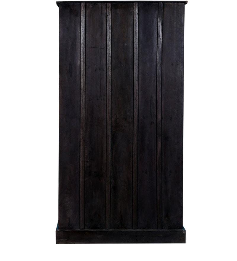 Buy Phoenix Solid Wood Wardrobe In Blue Distress Finish By