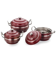 Airan Rangeela Stainless Steel Hard Anodized Lidded Handi - Set Of 3