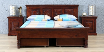 Airavana Solidwood Queen Bed With Drawer Storage In Honey Oak Finish