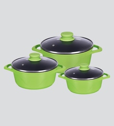 Alda Die Cast Blossom Green Cooking Pot Cum Casseroles - Set Of 3