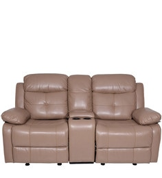 Alex Two Seater Recliner Sofa (with Glider) In Camel Colour