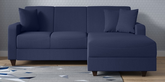 Alba Lhs Two Seater Sofa With Lounger And Cushions In Navy Blue Colour
