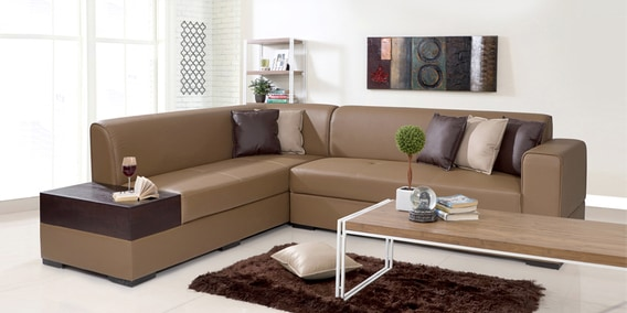 Alden Rhs Sectional Sofa In Tan Brown Leatherette