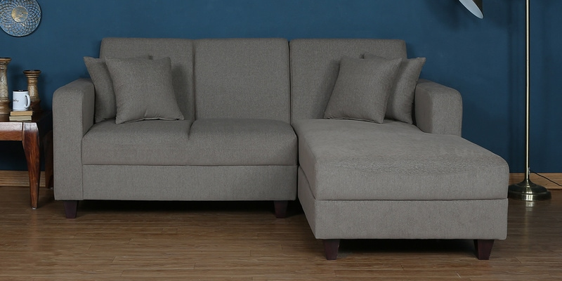 Alba LHS Two Seater Sofa With Lounger And Cushions In Sandy Brown Colour By  CasaCraft