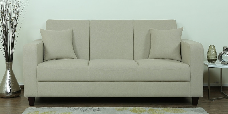 Alba Three Seater Sofa in Beige Colour by CasaCraft