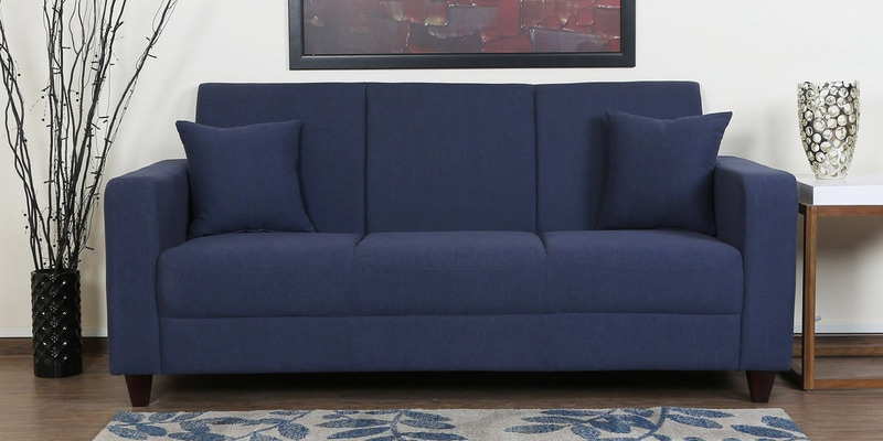 Alba Three Seater Sofa in Navy Blue Colour by CasaCraft