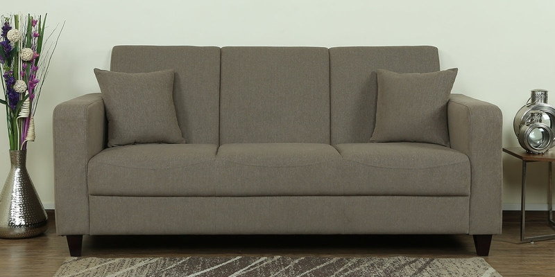 Alba Three Seater Sofa in Sandy Brown Colour by CasaCraft