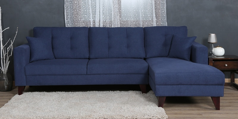Alfredo LHS Three Seater Sofa with Lounger and Cushions in Navy Blue Colour by CasaCraft