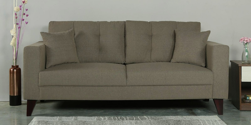 Alfredo Three Seater Sofa in Sandy Brown Colour by CasaCraft