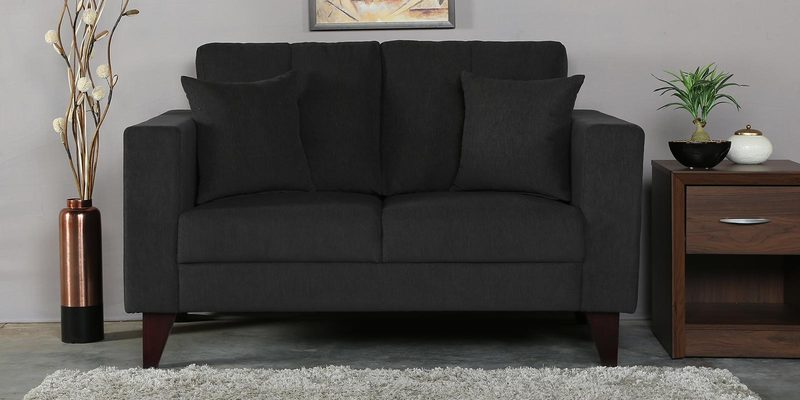 Alfredo Two Seater Sofa in Charcoal Grey Colour by CasaCraft