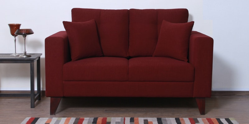 Alfredo Two Seater Sofa in Garnet Red Colour by CasaCraft