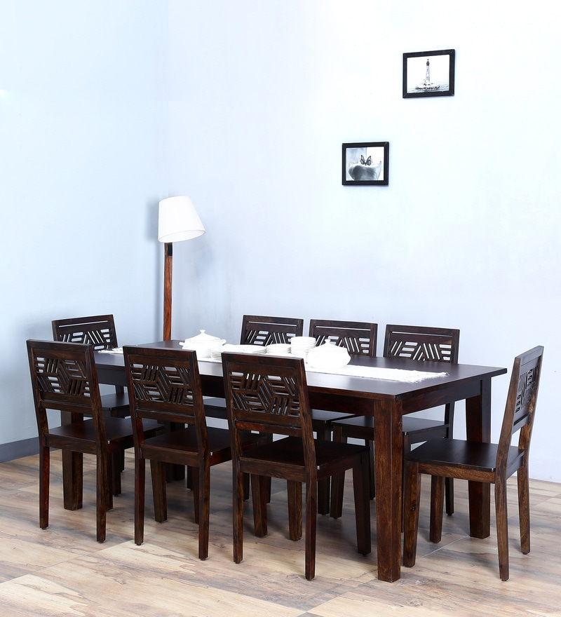 Alder Eight Seater Dining Set in Warm Chestnut Finish by Woodsworth