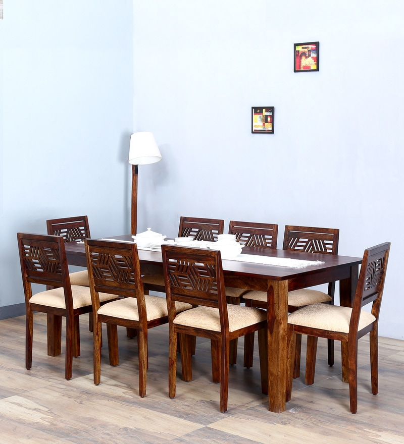 Alder Eight Seater Cushioned Dining Set in Provincial Teak Finish by Woodsworth
