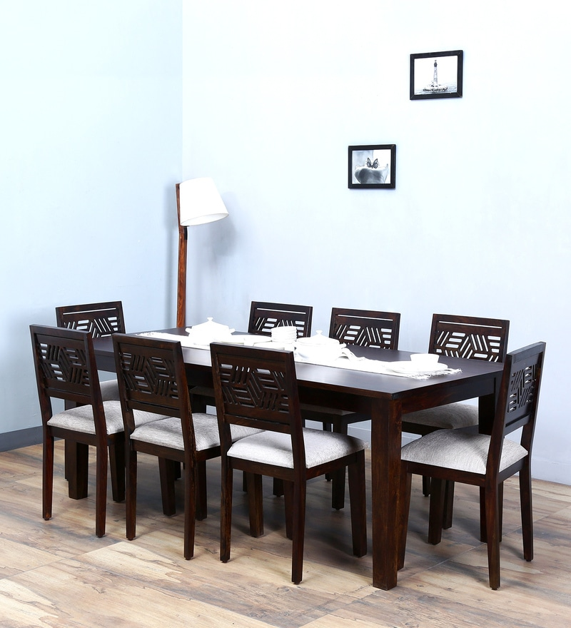 Alder Eight Seater Cushioned Dining Set in Warm Chestnut Finish by Woodsworth