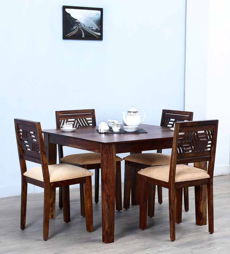 Alder Four Seater Cushioned Dining Set  in Provincial Teak Finish by Woodsworth