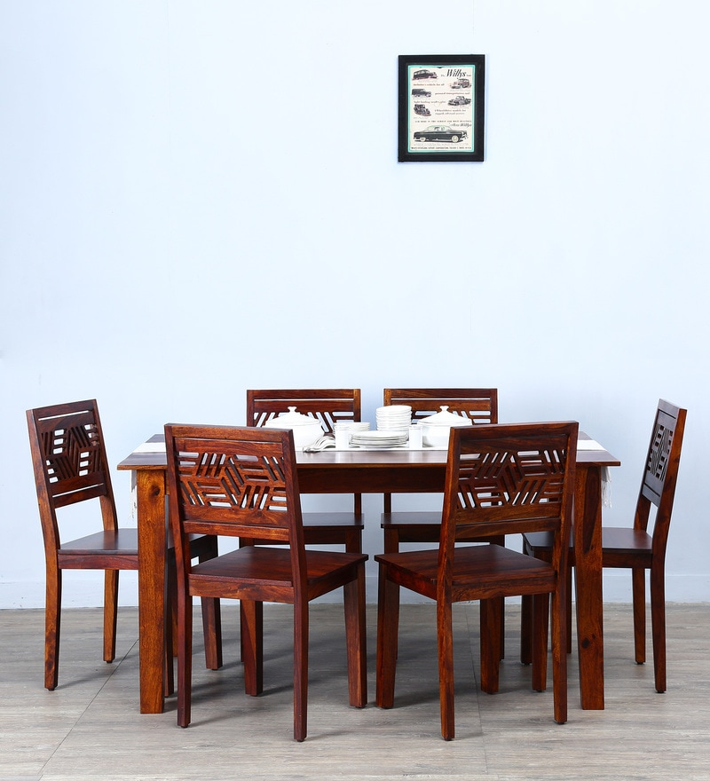 Alder Six Seater Dining Set in Honey Oak  Finish by Woodsworth