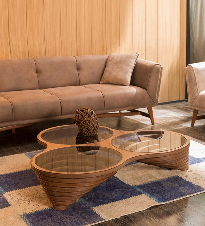Aletia Abstract Coffee Table in Brown Finish by CasaCraft