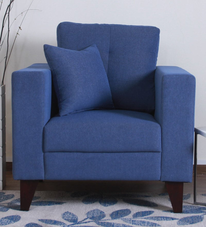Alfredo One Seater Sofa in Denim Blue Colour by CasaCraft