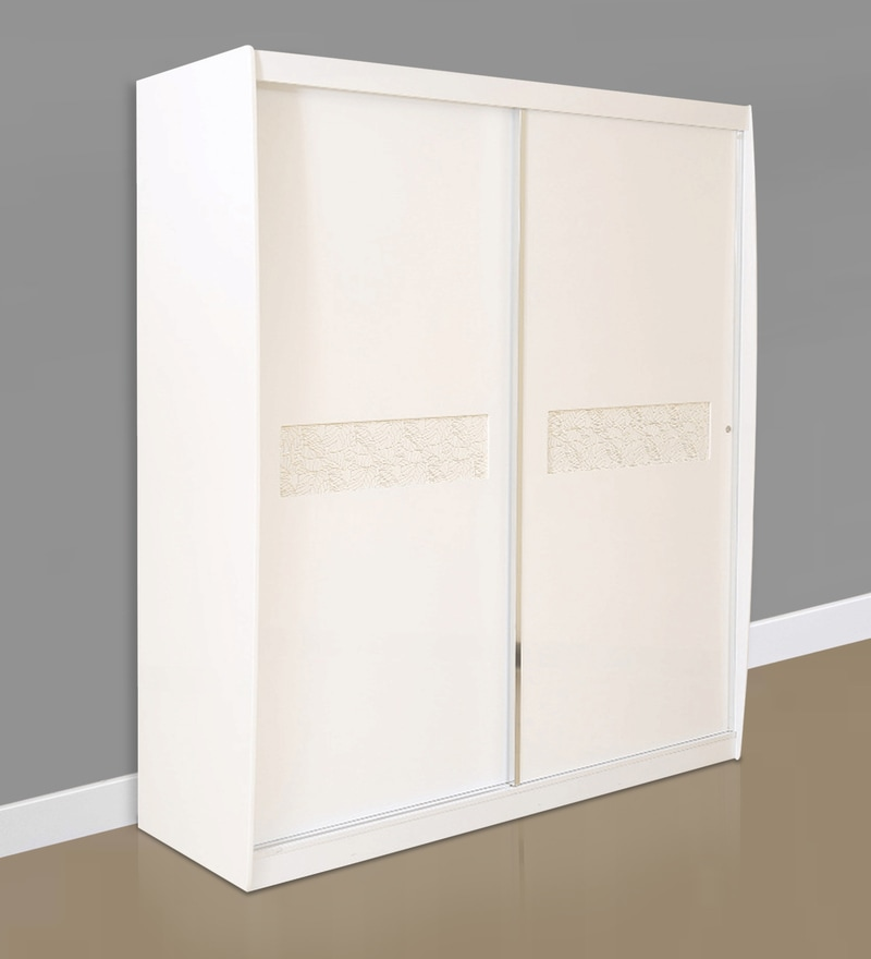 Alicia High Gloss Sliding Wardrobe in White Colour by HomeTown