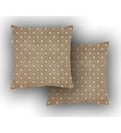 Ambbi Collections Brown Satin 16 X 16 Inch Digitally Printed Burlap Look & Stars Over It Cushion Cover - Set Of 2