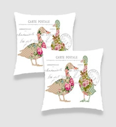 Ambbi Collections Multicolour Satin 16 X 16 Inch Digitally Printed Duck With Shabby Chic Print & Text Cushion Cover - Set Of 2