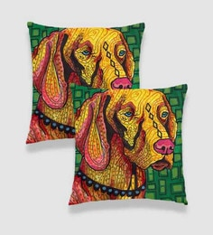 Ambbi Collections Multicolour Satin 16 X 16 Inch Digitally Printed Geometric Background & Doodled Dog Cushion Cover - Set Of 2