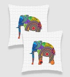Ambbi Collections Multicolour Satin 16 X 16 Inch Digitally Printed Geometric Background & Elelphant Over It Cushion Cover - Set Of 2