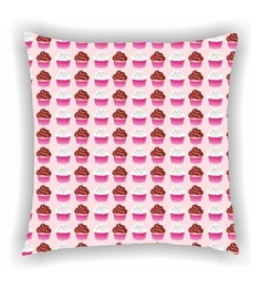 Ambbi Collections Multicolour Satin 16 X 16 Inch Digitally Printed Group Of 3 Cupcakes Cushion Cover