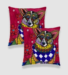 Ambbi Collections Multicolour Satin 16 X 16 Inch Digitally Printed Hand Drawn Dog, Flowers Cushion Cover - Set Of 2