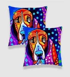 Ambbi Collections Multicolour Satin 16 X 16 Inch Digitally Printed Hand Drawn Dog Cushion Cover - Set Of 2