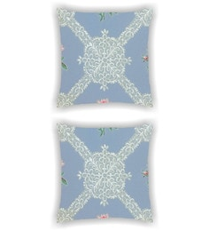 Ambbi Collections Multicolour Satin 16 X 16 Inch Digitally Printed Of A White Floral Net Look Pattern Cushion Cover - Set Of 2