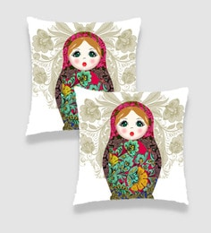 Multicolour Satin 16 X 16 Inch Digitally Printed Russian Doll Cushion Cover - Set Of 2 - 1606261
