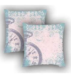 Ambbi Collections Multicolour Satin 16 X 16 Inch Digitally Printed Vintage Background & Clock Cushion Cover - Set Of 2