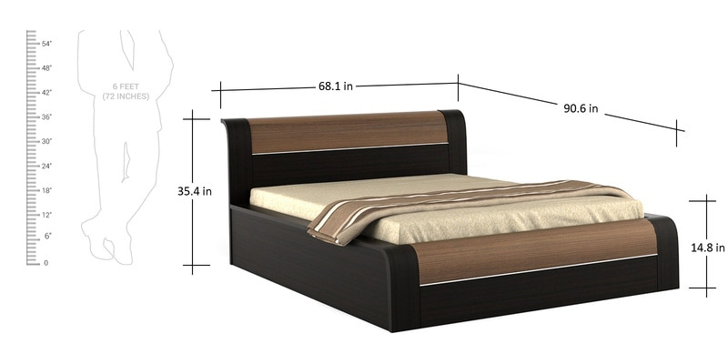 Buy Amazon Queen Bed With Hydraulic Storage In Wenge