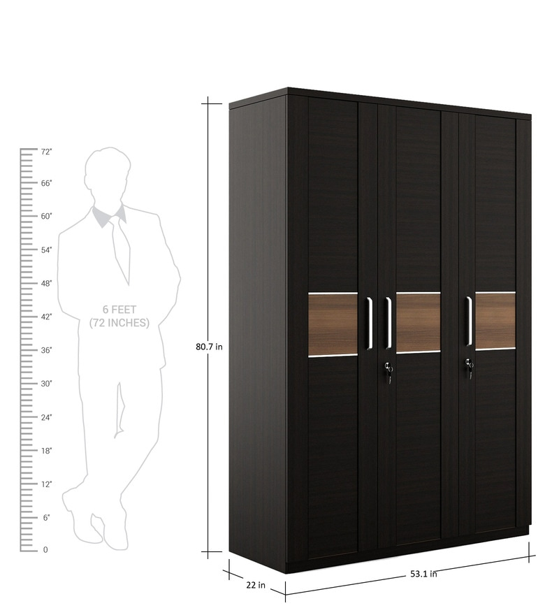 Buy Amazon Three Door Wardrobe With Drawer In Wenge Finish By