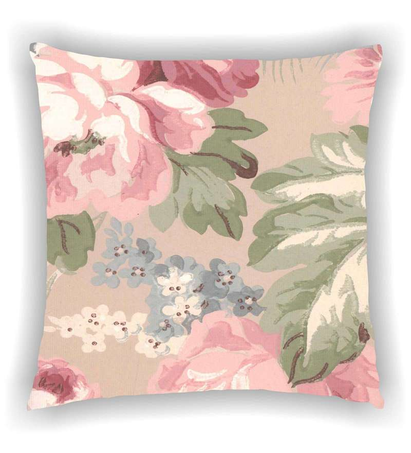 Multicolour Satin 16 x 16 Inch Big Vintage Floral Print Cushion Cover by Ambbi Collections