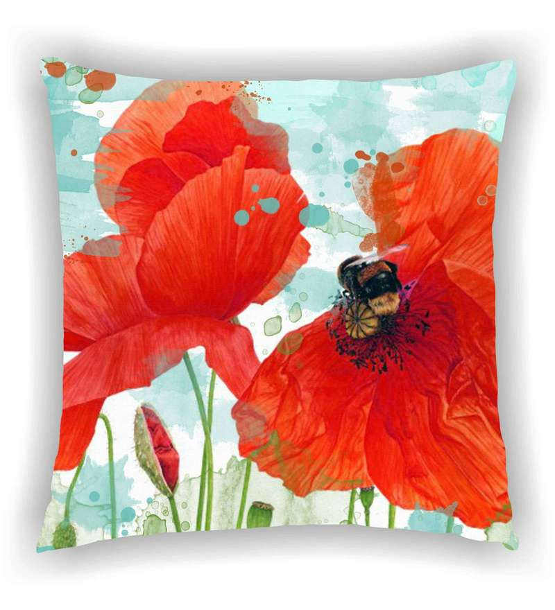 Multicolour Satin 16 x 16 Inch Two Big Flowers Cushion Cover by Ambbi Collections