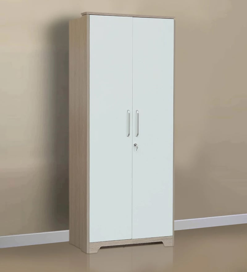Ambra Two Door Wardrobe in White \u0026 Larch Colour by HomeTown & Buy Two Door Carcass with 6mm Groove Shutter with RH Premium Finish ...