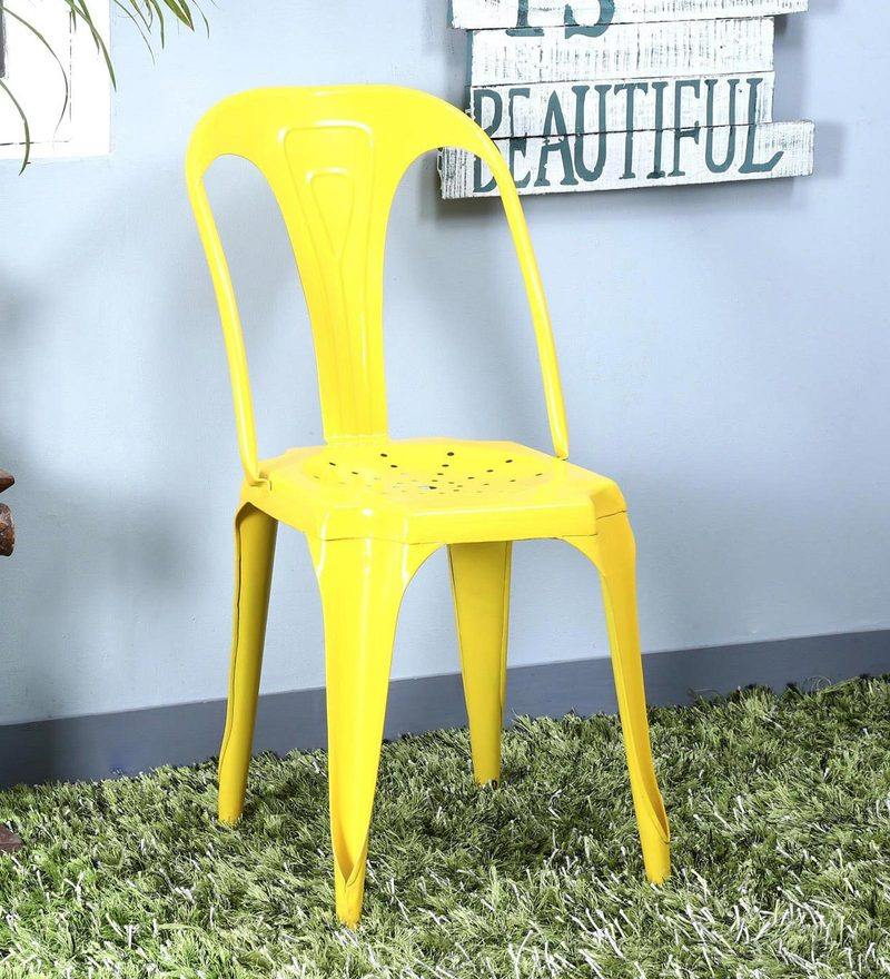 Amos Metal Chair in Yellow Color by Bohemiana