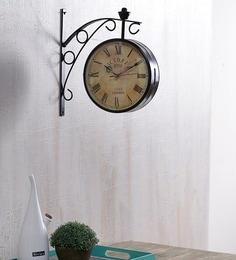anantaran black iron 8 inch double side wall clock railway clock