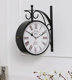 anantaran black metal 103 x 4 x 11 inch replica double side station wall clock