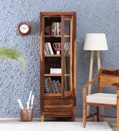 Anitz Solid Wood Book Case In Warm Walnut Finish - 1672685