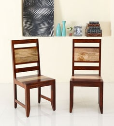 Anitz Solidwood Dining Chair (Set Of 2) In Dual Tone(Honey Oak & Natural)
